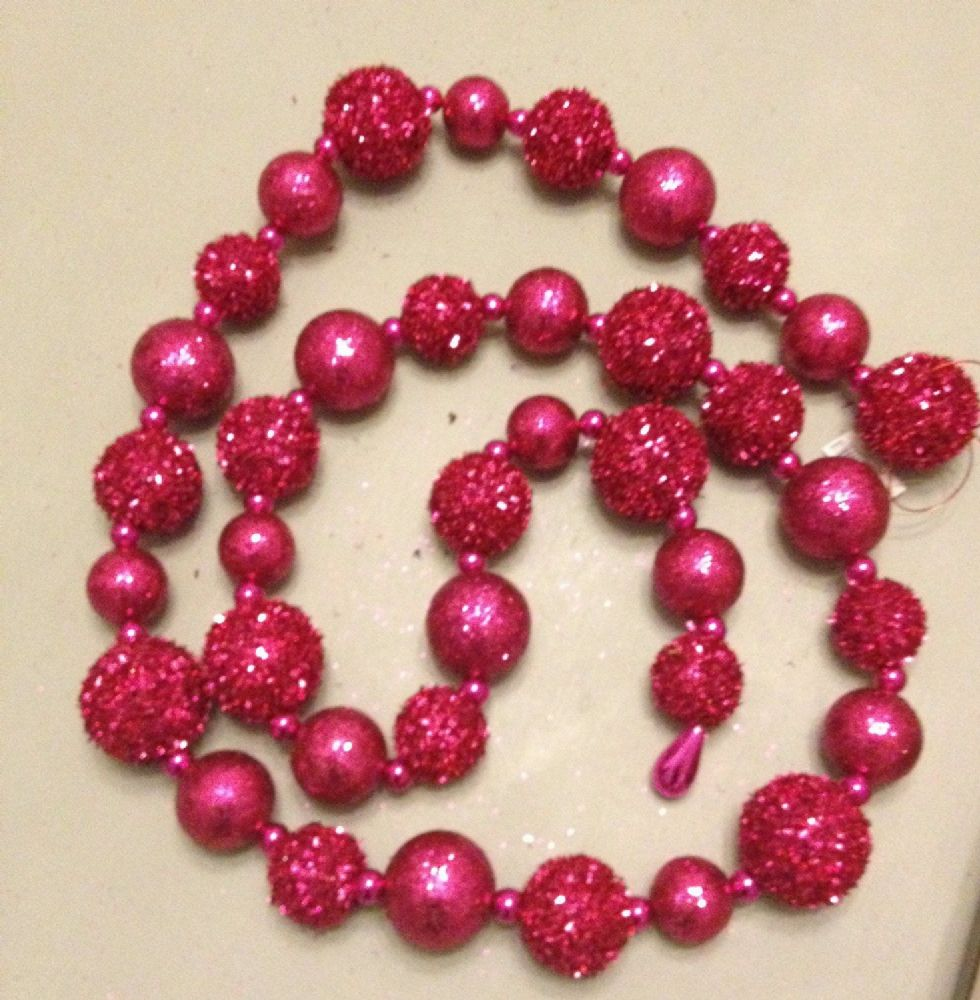 Pink Glitter & Sequin Pom Pom Ball Garland ~ Christmas Decoration
